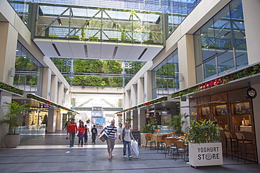 People inside Atrium on Takutai shopping mall in Britomart precinct, Auckland, North Island, New Zealand, Pacific