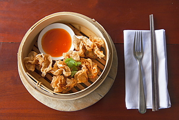 Prawn wrapped in fried rice paper at The Waterfront restaurant, Da Nang, Vietnam, Indochina, Southeast Asia, Asia