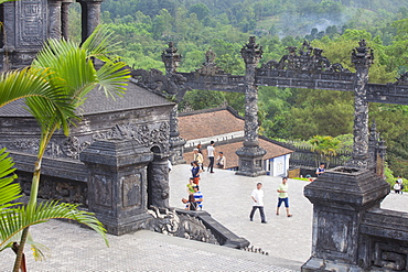 Tourists at Tomb of Khai Dinh, UNESCO World Heritage Site, Hue, Thua Thien-Hue, Vietnam, Indochina, Southeast Asia, Asia
