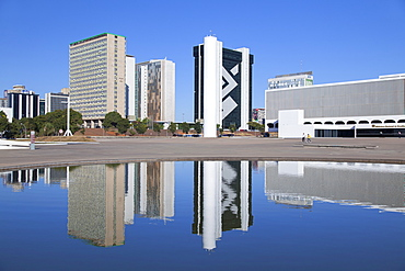 National Library, skyscrapers, UNESCO World Heritage Site, Brasilia, Federal District, Brazil, South America