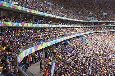 Football fans inside National Mane Garrincha Stadium for World Cup match, Brasilia, Federal District, Brazil, South America
