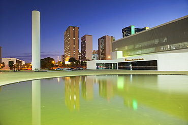National Library, skyscrapers, dusk, UNESCO World Heritage Site, Brasilia, Federal District, Brazil, South America
