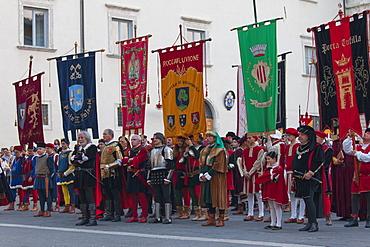 Procession of Medieval festival of La Quintana, Ascoli Piceno, Le Marche, Italy, Europe