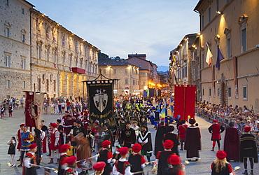 Procession of medieval festival of La Quintana in Piazza Arringo, Ascoli Piceno, Le Marche, Italy, Europe
