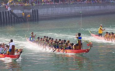 Dragon boat race, Shau Kei Wan, Hong Kong Island, Hong Kong, China, Asia