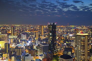 View of Osaka at dusk, Kansai, Japan, Asia
