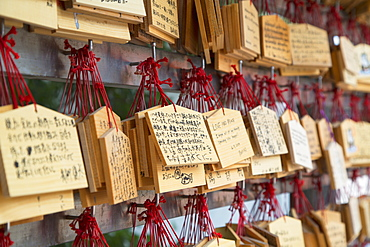 Ema (prayer cards) at Shinto shrine of Sumiyoshi Taisha, Osaka, Kansai, Japan, Asia