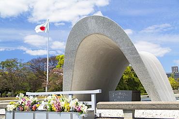 Cenotaph in Peace Memorial Park, Hiroshima, Hiroshima Prefecture, Japan, Asia
