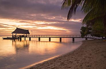 Jetty on Leleuvia Island at sunset, Lomaiviti Islands, Fiji, South Pacific, Pacific