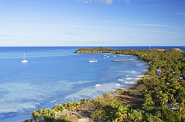 View of Mana Island, Mamanuca Islands, Fiji, South Pacific, Pacific