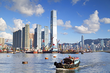 International Commerce Centre (ICC) and Yau Ma Tei Typhoon Shelter, West Kowloon, Hong Kong, China, Asia
