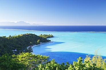 View of Matira Beach and lagoon, Bora Bora, Society Islands, French Polynesia, South Pacific, Pacific