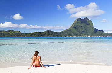 Woman on Motu Tapu, Bora Bora, Society Islands, French Polynesia, South Pacific, Pacific