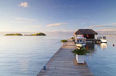 Jetty of Sofitel Hotel with Sofitel Private Island in background, Bora Bora, Society Islands, French Polynesia, South Pacific, Pacific