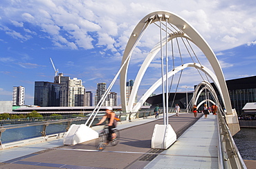People crossing Seafarers Bridge, Melbourne, Victoria, Australia, Pacific