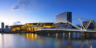 Seafarers Bridge and Convention Centre at dawn, Melbourne, Victoria, Australia, Pacific