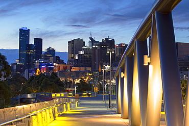 Skyline from William Barak Bridge at dusk, Melbourne, Victoria, Australia, Pacific