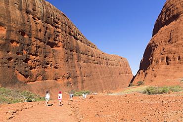 Tourists hiking at Walpa Gorge, Kata Tjuta (The Olgas), UNESCO World Heritage Site, Uluru-Kata Tjuta National Park, Northern Territory, Australia, Pacific