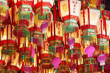 Lanterns at Wong Tai Sin Temple, Wong Tai Sin, Kowloon, Hong Kong, China, Asia