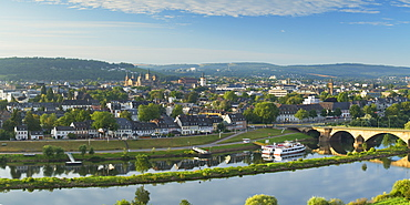 View of River Moselle and Trier, Rhineland-Palatinate, Germany, Europe