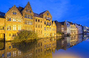 Leie Canal at dusk, Ghent, Flanders, Belgium, Europe