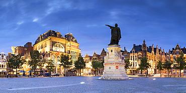 Friday Market Square at dusk, Ghent, Flanders, Belgium, Europe