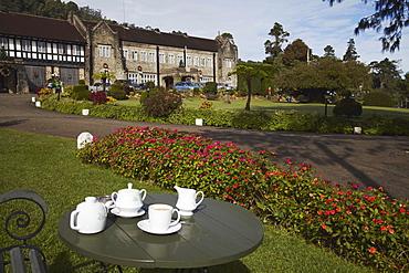 Morning tea in the garden of the Hill Club, Nuwara Eliya, Sri Lanka, Asia