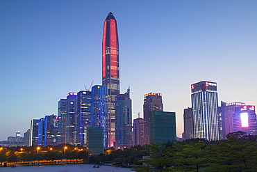 Ping An International Finance Centre, world's fourth tallest building in 2017 at 600m, and Civic Square, Futian, Shenzhen, Guangdong, China, Asia