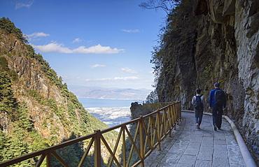 Couple hiking in Cang Mountains, Dali, Yunnan, China, Asia