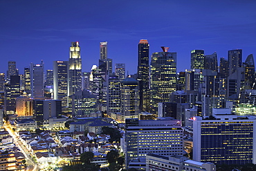 View of Chinatown and business district skyscrapers, Singapore, Southeast Asia, Asia