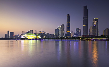 Skyline of Tianhe at dusk, Guangzhou, Guangdong, China, Asia