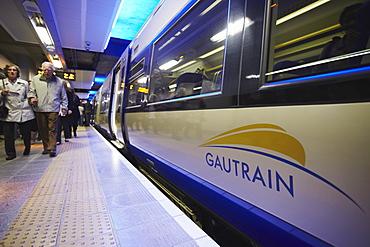 High speed Gautrain at Sandton station, Sandton, Johannesburg, Gauteng, South Africa, Africa