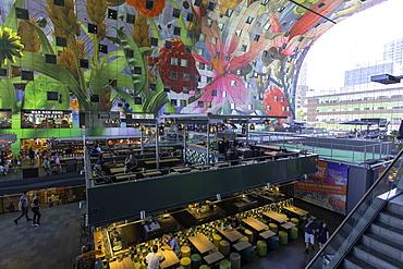 Food market inside Markthal, Rotterdam, Zuid Holland, Netherlands, Europe