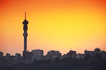 View of Johannesburg skyline at sunset, Gauteng, South Africa, Africa