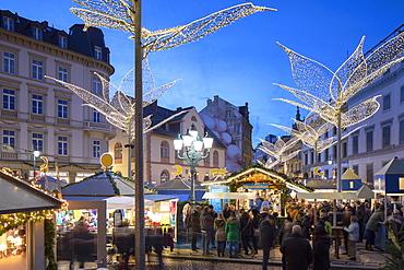 Christmas Market at dusk, Wiesbaden, Hesse, Germany, Europe