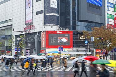 People walking across Shibuya Crossing, Shibuya, Tokyo, Honshu, Japan, Asia