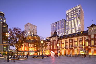 Tokyo Station at dusk, Tokyo, Honshu, Japan, Asia