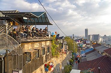 Cafe at Ihwa mural village, Seoul, South Korea, Asia