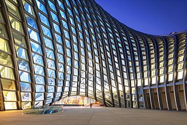 Phoenix International Media Centre at dusk, Beijing, China, Asia
