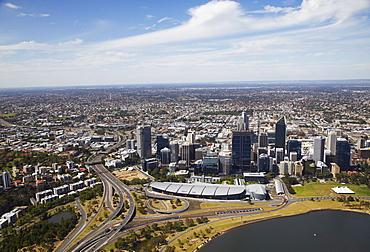 Aerial view of downtown Perth, Western Australia, Australia, Pacific