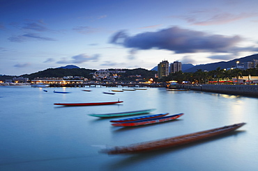 Dragon boats in Sai Kung harbour, New Territories, Hong Kong, China, Asia