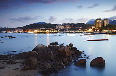 Sai Kung harbour at dusk, New Territories, Hong Kong, China, Asia