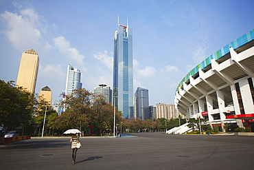 CITIC Plaza and Tianhe stadium, Tianhe, Guangzhou, Guangdong Province, China, Asia