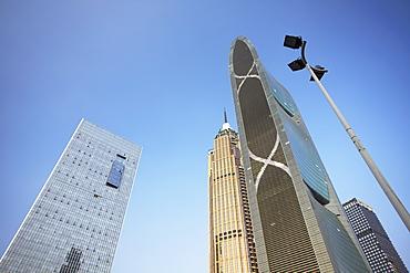 Pearl River Tower and skyscrapers, Zhujiang New Town area, Tianhe, Guangzhou, Guangdong Province, China, Asia