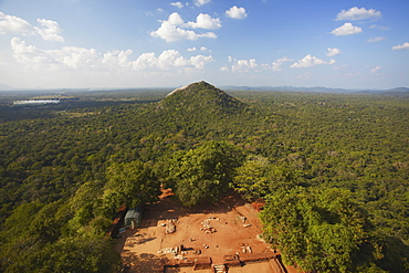 View of surrounding countryside from Sigiriya, UNESCO World Heritage Site, North Central Province, Sri Lanka, Asia