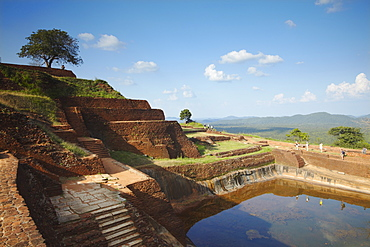 People at summit of Sigiriya, UNESCO World Heritage Site, North Central Province, Sri Lanka, Asia