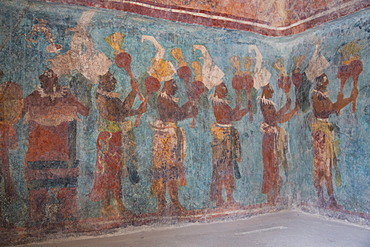 A procession of musicians in Room 1, Temple of Murals, Bonampak Archaeological Zone, Chiapas, Mexico, North America