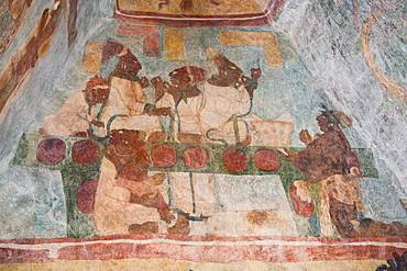 Royal family performing a blood letting ritual, Room 3, Temple of Murals, Bonampak Archaeological Zone, Chiapas, Mexico, North America