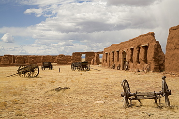 Old wagons, Fort Union National Monument, New Mexico, United States of America, North America