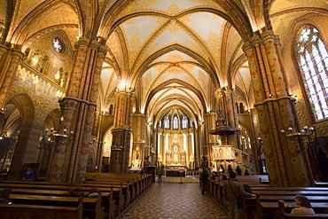 Interior view of Matthias Church (Matyas Templom), dating from 1470, Budapest, Hungary, Europe